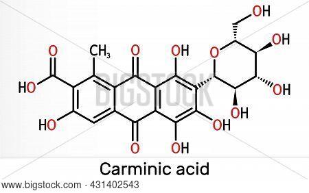 Carminic Acid Molecule. It Is сoloring Matter, Red Glucosidal Hydroxyanthrapurin. It Is Used In Food