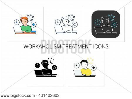 Workaholic Icons Set.workaholism Treatment. Necessary Therapy.man At Laptop.overworking Concept. Iso