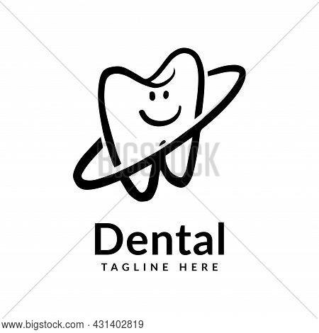 Dental Health Logo Silhouette. Dental Health Care Of Children Fun Concept, Dental Logo Design Vector