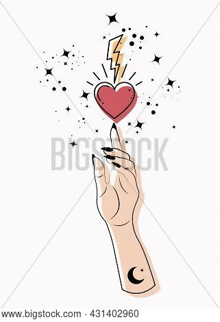 Mystical Woman Hand Alchemy Esoteric Magic Space Stars, Lightning And Sacred Heart Symbol. Colorful