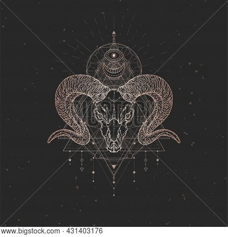Vector Illustration With Hand Drawn Wild Ram Skull And Sacred Geometric Symbol On Black Vintage Back