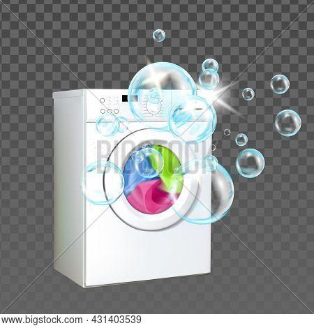 Laundry Machine Home Equipment Wash Clothes Vector. Laundry Machine Washing Clothing With Bubble Liq