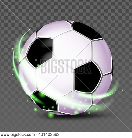 Soccer Ball Team Sportive Game Accessory Vector. Leather Ball For Playing Football On Stadium Field.