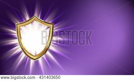 Shield Cyberspace Security Banner Copyspace Vector. Cyber Security Technology For Safe Privacy Data