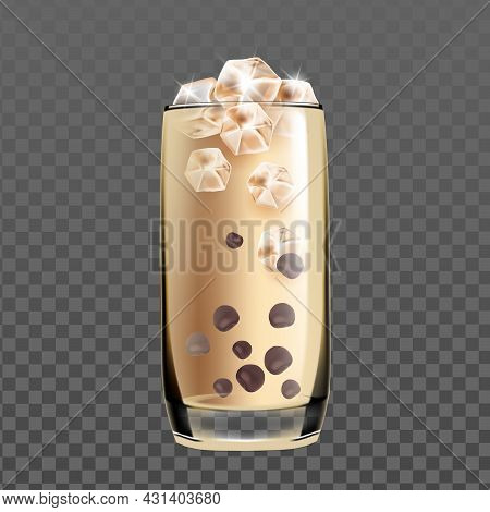 Iced Cold Coffee Drink Glass With Chocolate Vector. Coffee Energy Delicious Beverage With Milk And I