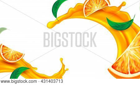 Orange Juice Splash And Mint Copy Space Vector. Refresh Natural Orange Drink With Tasty Green Leaves