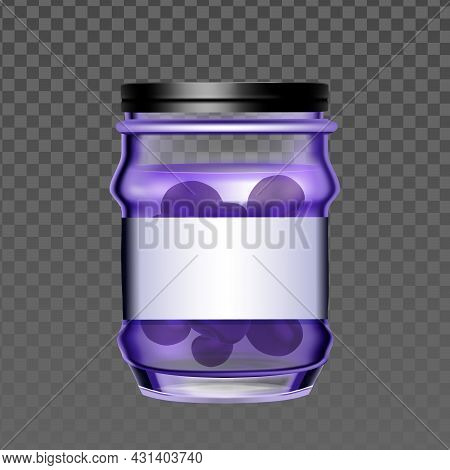 Glass Bottle With Blueberry Berries Jam Vector. Blank Jar With Vitamin Organic Canned Blueberry Marm