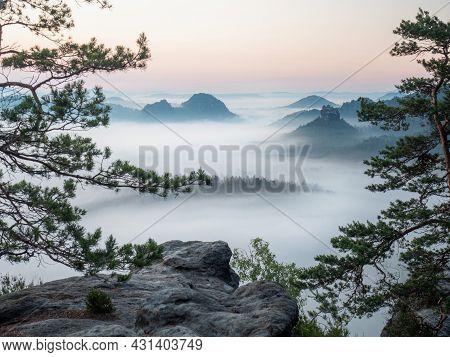 The Fabulous Vistas Of Saxon Switzerland.  Kleiner Winterberg View, Beautiful Morning View Over Sand