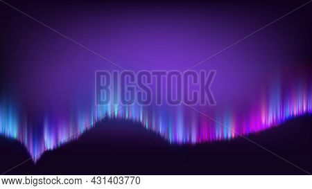 Northern Polaris Aurora Color Light Banner Vector. Lighting Aurora Appear Diffuse Glow Or Curtains.