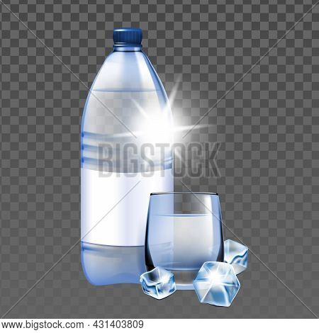 Mineral Water With Ice Cubes Cup And Bottle Vector. Refreshment Healthy Mineral Water Blank Package