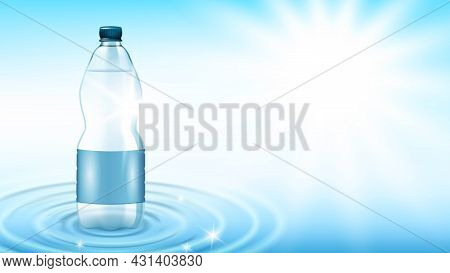 Mineral Water Bottle Fresh Drink Copy Space Vector. Mineral Water Blank Package Standing On Wet Wavy