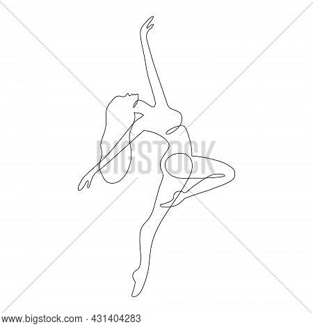 Dancing Woman Abstract One Continuous Line Portrait. Freedom, Happiness Symbol. Modern Minimalist St