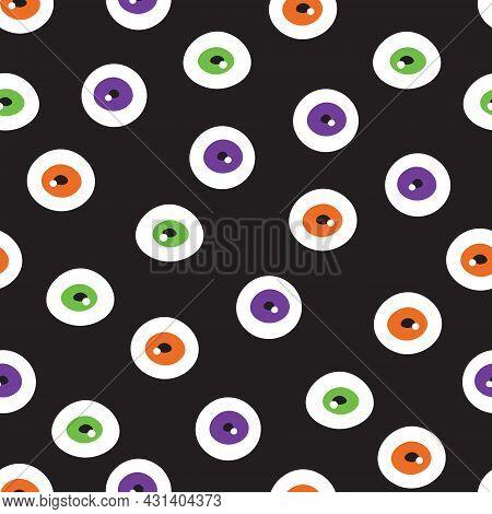 Eyeball Seamless Pattern. Halloween Candy Texture For Wallpaper.