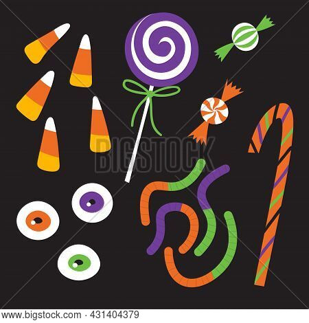 Halloween Candy Set. Trick Or Treat Sweets: Eyeball, Warms, Cane, Lollipop, Candy Corn, Bonbons.