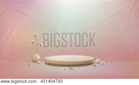 Studio Room With Flowers Ball In Vase On Pastel Floor Background,gallery Room With Sport Light On Wa