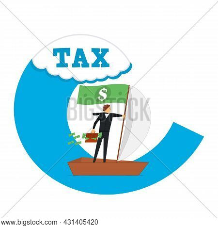 Businessman Avoids A Wave Of Taxes. Vector Illustration In A Flat Style.