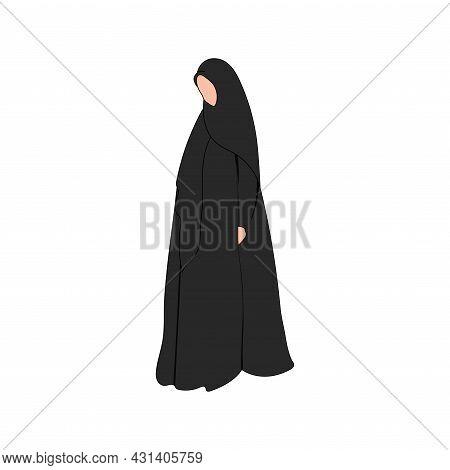 Muslim Woman Silhouette In Hijab And Abaya. Arab Saudi Girl. Black Female Islamic Hijab. Arabian Naq