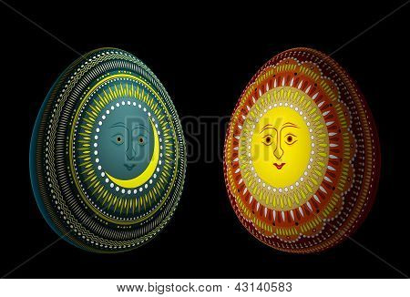 Eggs With Solar And Lunar Ornaments