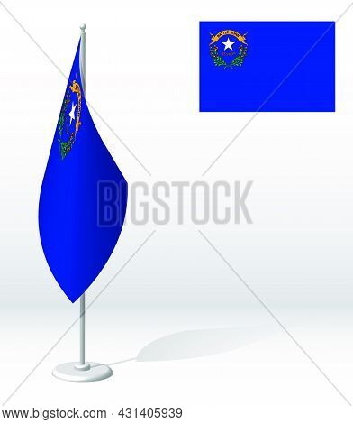 Flag Of American State Of Nevada On Flagpole For Registration Of Solemn Event, Meeting Foreign Guest