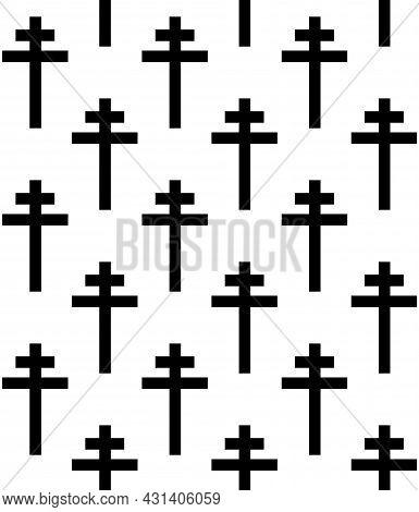 Vector Seamless Pattern Of Flat Christian Orthodox Cross Isolated On White Background