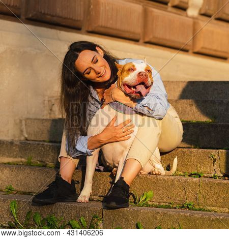 Brunette Woman In Casual Clothes Sitting On Stone Staircase And Hugging Bicolor White-brown Enthusia