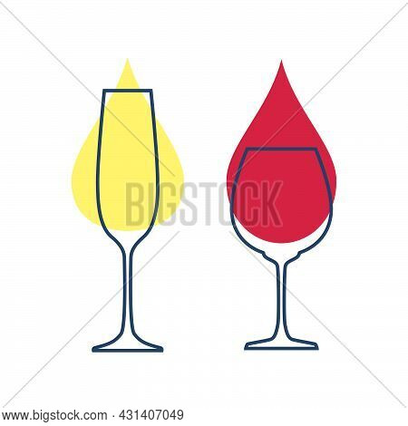 Two Glasses With Champagne And Red Wine. Glassware For Drinks. Template Alcohol Beverage For Restaur