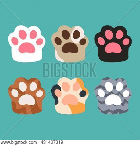 Collection Different Cartoon Colored Cat Paws. Cute Cartoon Animal Foot. Cat Paws Vector Illustratio
