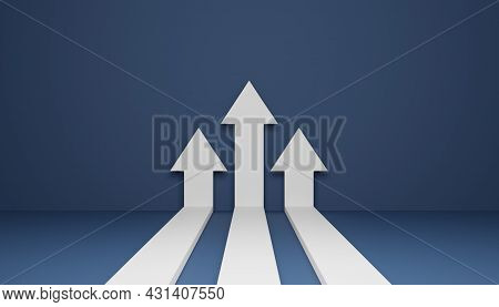 Three Flat Arrows Rising Up, Concept Of Business Target Reach Or Successful Investment, 3d Rendering