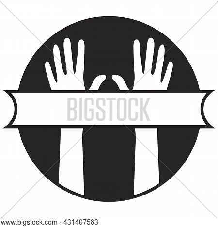 Two Hands Close-up. Black Circle Background. Isolated White Silhouettes. Right And Left Human Hands.