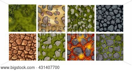 Game Ground Seamless Pattern Vector Set, Cartoon Land Top View Texture, Stone Rock Background. Lava
