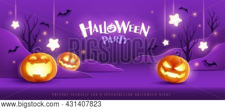 Happy Halloween. Group Of 3d Illustration Glowing Pumpkin On Treat Or Trick Fantasy Fun Party Celebr