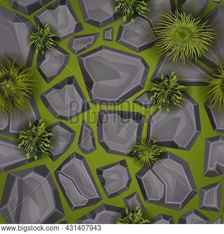 Grass Stone Seamless Pattern, Vector Rock Ground Game Texture, Garden Green Floor Background. Nature