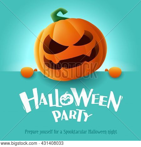 Halloween Party. 3d Illustration Of Cute Jack O Lantern Orange Pumpkin Character With Big Greeting S