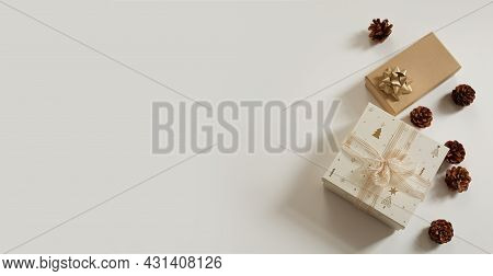 Christmas Composition. Xmas Background. Christmas Gift, Pine Cones On The White Background. Free Spa