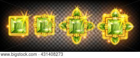 Game Gem Crystal Assets Set, Ui Diamond Jewel Stone Rating Achievement Award Design, Winner Badge. G