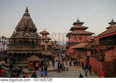 Patan, Nepal - December 28, 2011: Panorama Of Historic Temples On The Durbar Square In Patan, Nepal