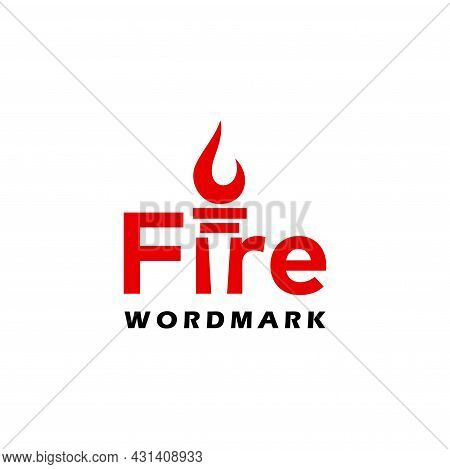 Bold And Unique Logo, Wordmark About Fire In Negative Area. Eps 10, Vector.