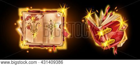 Old Ancient Book Vector Illustration, Game Magic Open Antique Diary, Medieval Wizard Spell Manuscrip