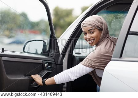 Woman Driving Her Car, Study On Street. Transport Concept, Driving Lesson In City
