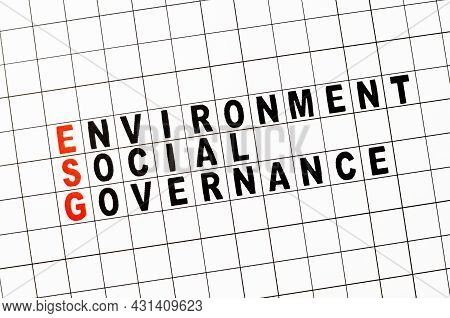 Esg. Environmental Social And Governance Business Concept. Text On Paper.
