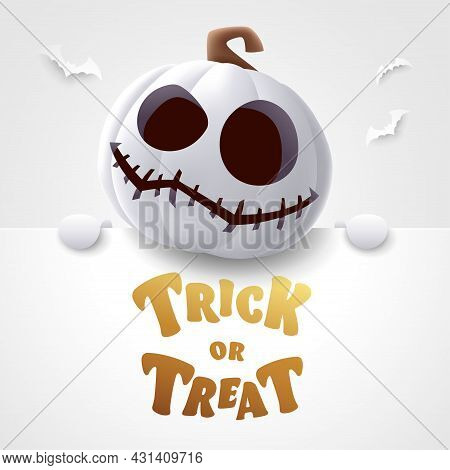Trick Or Treat. 3d Illustration Of Cute Jack O Lantern White Pumpkin Character With Big Greeting Sig