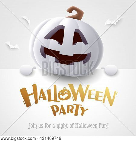 Halloween Party. 3d Illustration Of Cute Jack O Lantern White Pumpkin Character With Big Greeting Si
