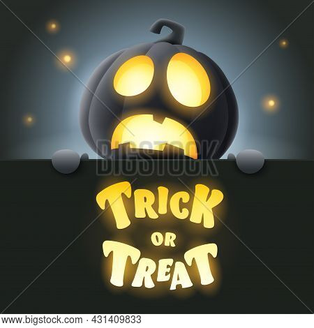 Trick Or Treat. 3d Illustration Of Cute Glowing Jack O Lantern Black Pumpkin Character With Big Gree
