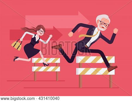 Business People Running Over Barrier, Try To Overcome Difficulties, Obstacles. Office Senior And You
