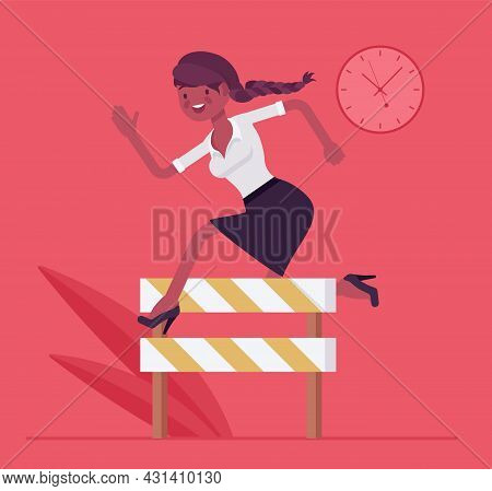 Businesswoman Running Over Barrier, Try To Overcome Difficulties And Obstacles. Office Manager, Stro