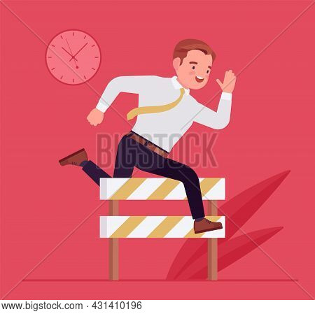 Businessman Running Over Barrier, Try To Overcome Difficulties, Obstacles. Office Manager, Strong Em