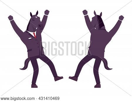 Horse Man, Large Hoofed Male Animal, Formal Human Wear, Happy. Business Person In Dark Strict Suit,