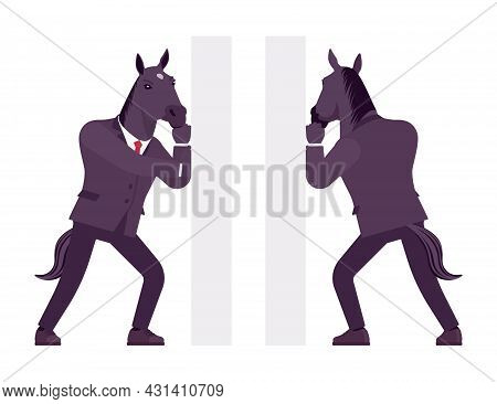 Horse Man, Large Hoofed Male Animal, Formal Human Wear, Pushing. Business Person In Dark Strict Suit