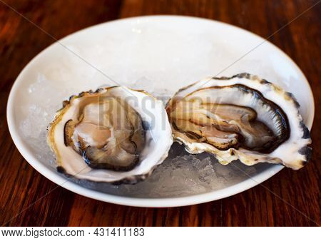 Two Fresh, Open Oysters Lie On A Plate Of Ice. Sea Food, Aphrodisiac