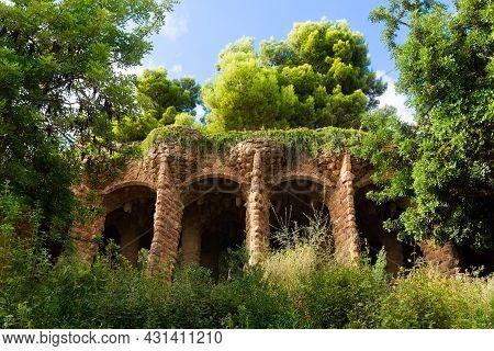 Barcelona, Catalonia, Spain, September 21, 2019. Park Guell Designed By Architect Antonio Gaudi.